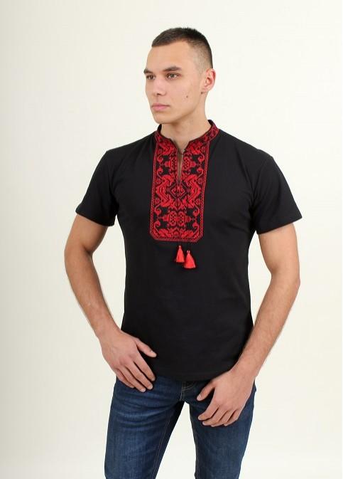Купити чоловічу футболку вишиванку Монохром ( чорна з червоним ) в Україні від Галичанка фото 1