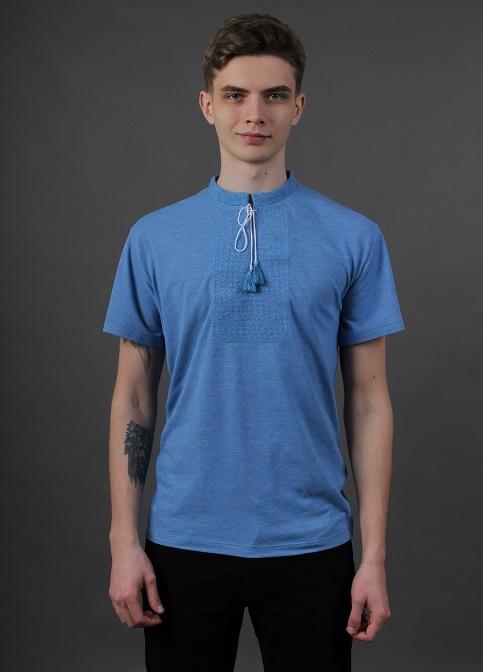 Купити чоловічу футболку вишиванку Монохром ( джинс-голубий з голубим ) в Україні від Галичанка фото 1