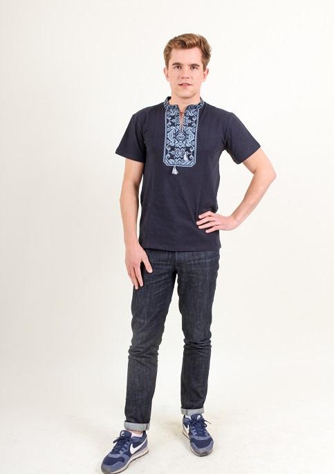Купити чоловічу футболку вишиванку Монохром (темно синій з сірим) в Україні від Галичанка фото 1
