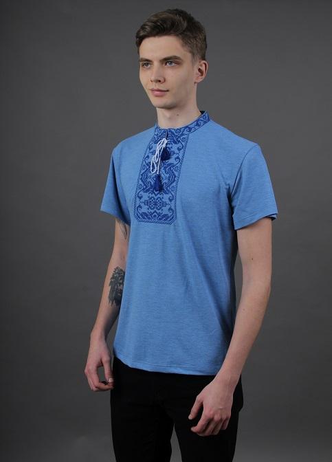 Купити чоловічу футболку вишиванку Монохром (джинс-голубий з синім) в Україні від Галичанка фото 1