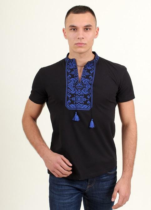 Купити чоловічу футболку вишиванку Монохром ( чорна з синім ) в Україні від Галичанка фото 1