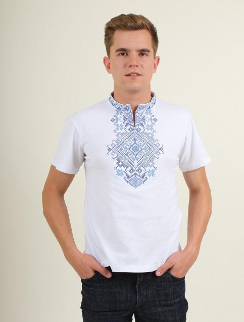 Купити чоловічу футболку вишиванку Орел (біла з синім ) в Україні від Галичанка фото 1