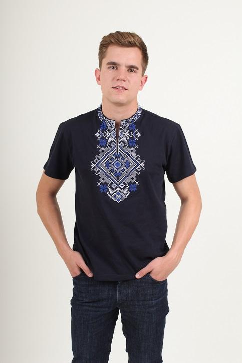 Купити чоловічу футболку вишиванку Орел (синя з синім) в Україні від Галичанка фото 1