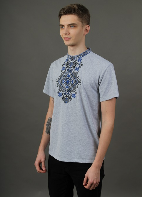 Купити чоловічу футболку вишиванку Орел ( сіра з синім ) в Україні від Галичанка фото 1