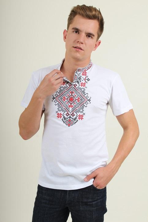 Купити чоловічу футболку вишиванку Орел ( біла з червоним )  в Україні від Галичанка фото 1