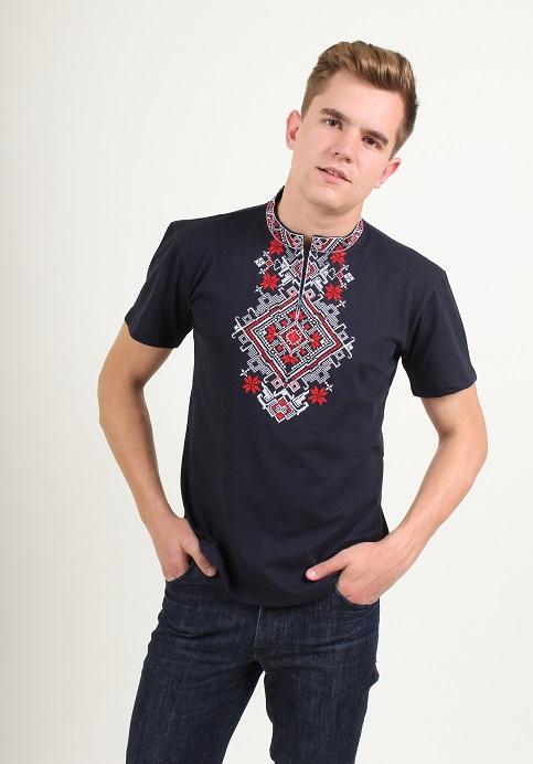 Купити чоловічу футболку вишиванку Орел (синя з червоним) в Україні від Галичанка фото 1