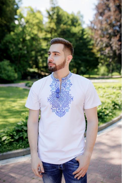 Купити чоловічу футболку вишиванку Орел ( біла з синім) в Україні від Галичанка фото 1