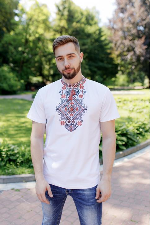 Купити чоловічу футболку вишиванку Орел ( біла з червоним) в Україні від Галичанка фото 1