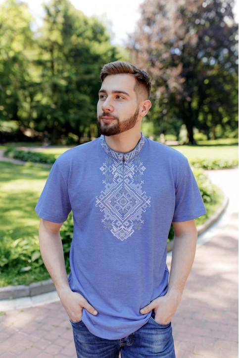 Купити чоловічу футболку вишиванку Орел (джинс синій з сірим) в Україні від Галичанка фото 1