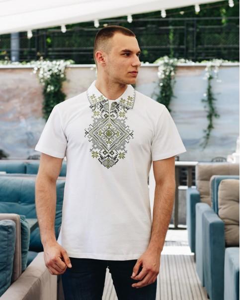 Купити чоловічу футболку вишиванку Перемога (біла з оливкою) в Україні від Галичанка фото 1