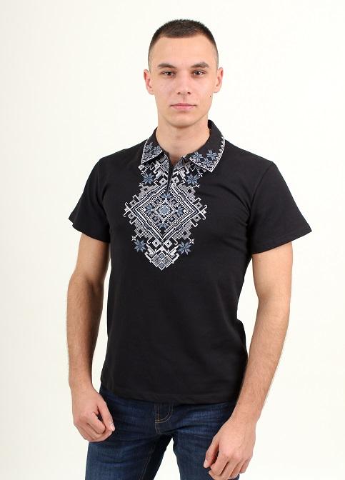 Купити чоловічу футболку вишиванку Перемога ( чорна з сірим ) в Україні від Галичанка фото 1