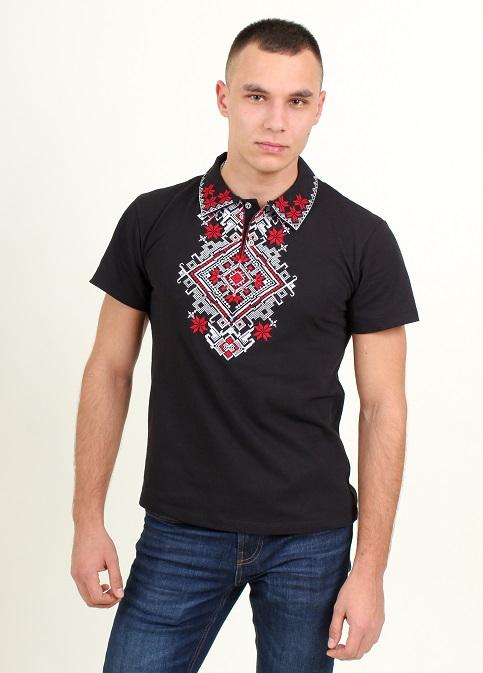 Купити чоловічу футболку вишиванку Перемога (чорна з червоним) в Україні від Галичанка фото 1
