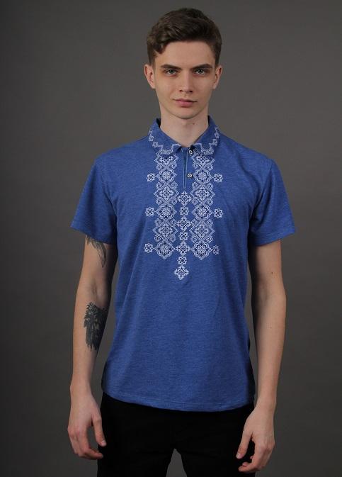 Купити чоловічу футболку вишиванку Романтика чоловіча( джинс-синій з синім ) в Україні від Галичанка фото 1