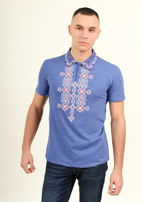 Купити чоловічу футболку вишиванку Романтика чоловіча ( джинс-синій з червоним) в Україні від Галичанка фото 1