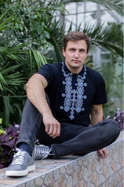 Купити чоловічу футболку вишиванку Романтика (синя з синім) в Україні від Галичанка фото 1