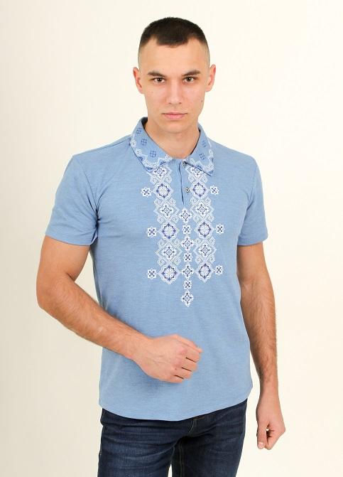 Купити чоловічу футболку вишиванку Романтика чоловіча ( джинс-голубий  з синім ) в Україні від Галичанка фото 1