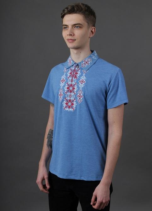 Купити чоловічу футболку вишиванку Руслан ( джинс-голубий з червоним) в Україні від Галичанка фото 1