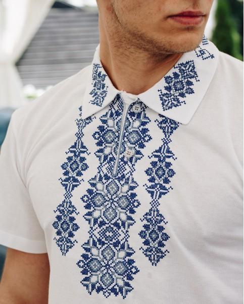 Купити чоловічу футболку вишиванку Руслан (білий  з синім) в Україні від Галичанка фото 1