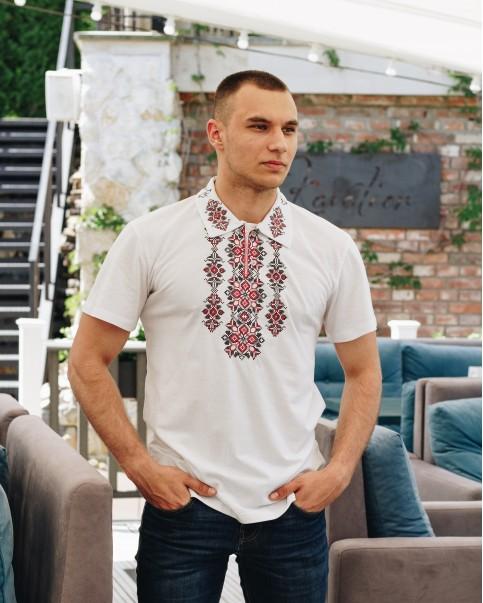 Купити чоловічу футболку вишиванку Руслан (білий з червоним) в Україні від Галичанка фото 1