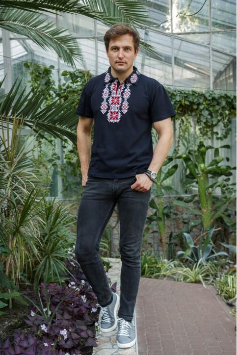 Купити чоловічу футболку вишиванку  Руслан (синя з червним) в Україні від Галичанка фото 1