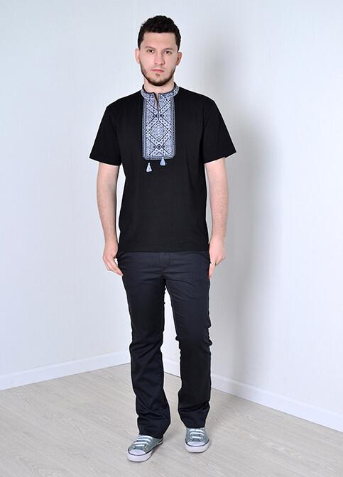 Купити чоловічу футболку вишиванку Традиція ( чорна з сірим ) в Україні від Галичанка фото 1