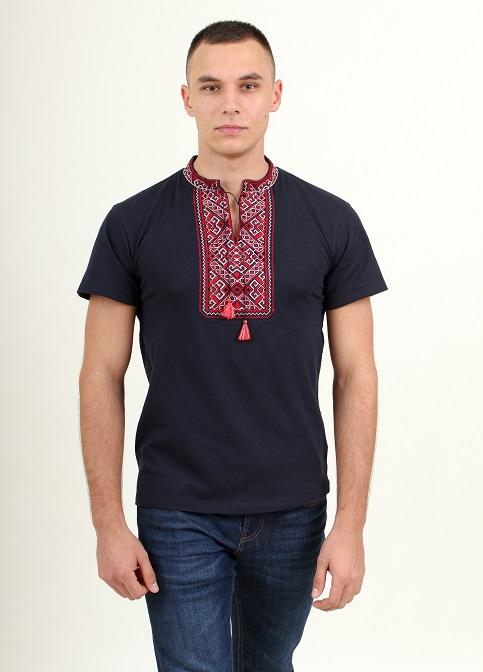 Купити чоловічу футболку вишиванку Традиція ( темно синій з червоним) в Україні від Галичанка фото 1