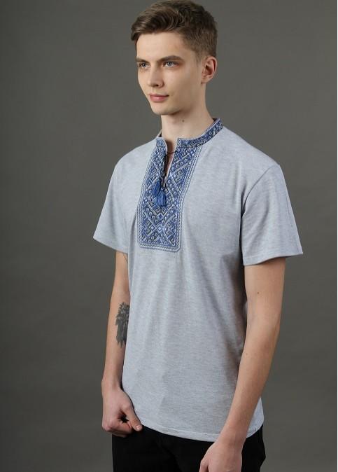 Купити чоловічу футболку вишиванку Традиція сіра (синьо-чорна ) в Україні від Галичанка фото 1