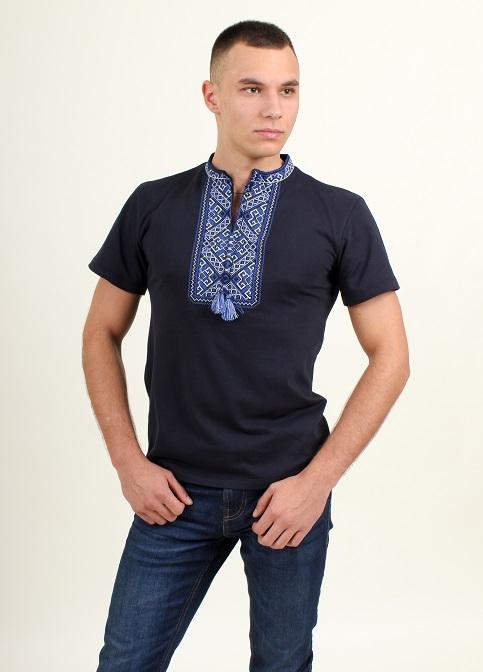 Купити чоловічу футболку вишиванку Традиція ( чорна з синім ) в Україні від Галичанка фото 1