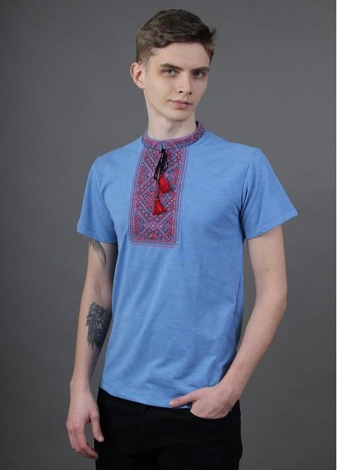 Купити чоловічу футболку вишиванку Традиція ( джинс голубий з червоно-чорна) в Україні від Галичанка фото 1