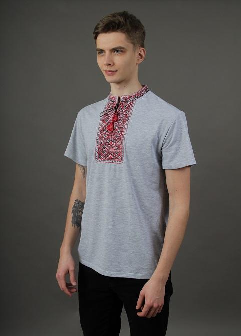 Купити чоловічу футболку вишиванку Традиція ( джинс-сіра з червоним ) в Україні від Галичанка фото 1
