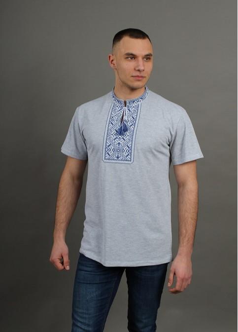 Купити чоловічу футболку вишиванку Традиція  сіра ( св. з синьо-біла ) в Україні від Галичанка фото 1