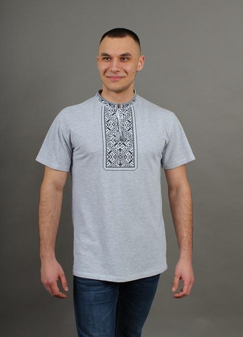 Купити чоловічу футболку вишиванку  Традиція (сіра з чорно-білим) в Україні від Галичанка фото 1