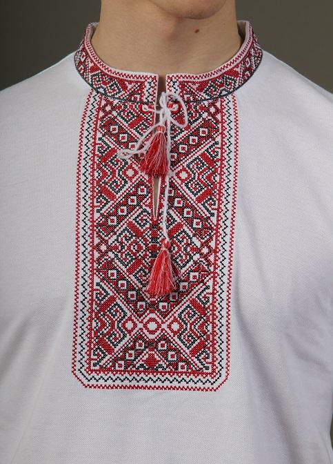 Купити чоловічу футболку вишиванку Традиція (біла з червоною) в Україні від Галичанка фото 1