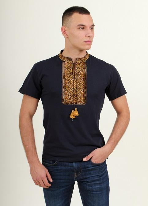 Купить мужскую футболку вышиванку Традиция (темно синяя с золотым) в Украине от Галычанка фото 1