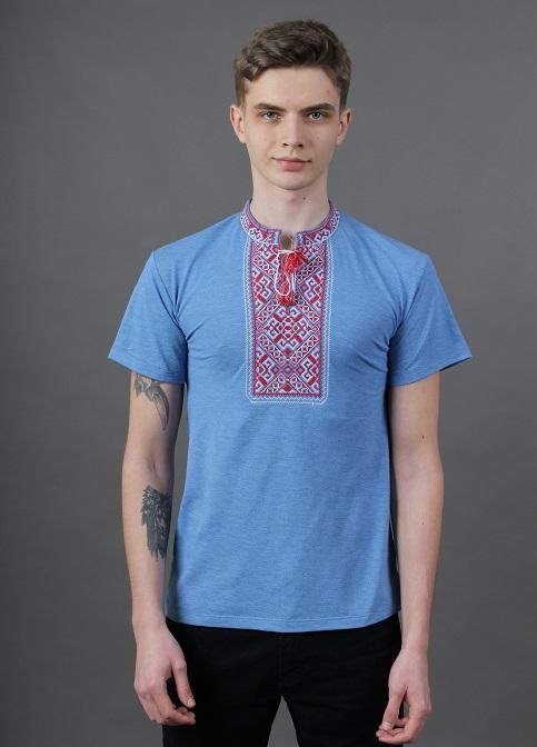 Купити чоловічу футболку вишиванку Традиція (джинс голубий з червоною) в Україні від Галичанка фото 1