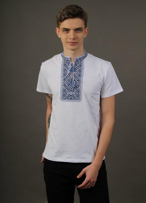 Купити чоловічу футболку вишиванку Традиція ( біла з синім ) в Україні від Галичанка фото 1