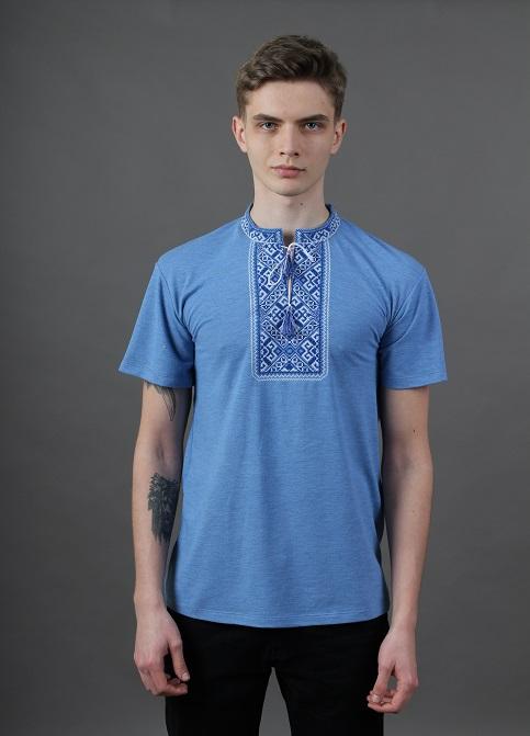 Купити чоловічу футболку вишиванку  Традиція ( джинс голубий з синім )  в Україні від Галичанка фото 1