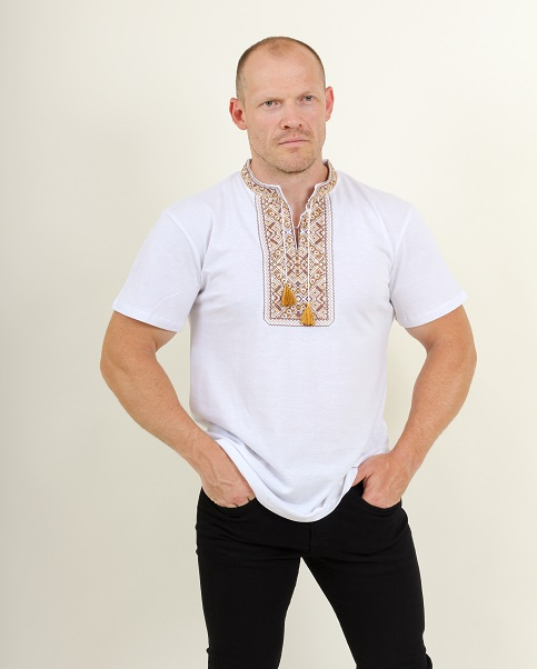 Купити чоловічу футболку вишиванку Традиція ( біла з коричневою)  в Україні від Галичанка фото 1