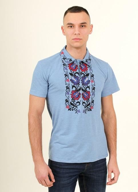 Купити чоловічу футболку вишиванку Ватра чоловіча ( джинс-голубий) в Україні від Галичанка фото 1