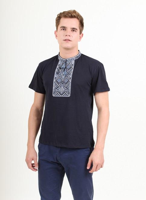 Купити чоловічу футболку вишиванку Витязь ( темно синя з сірим )  в Україні від Галичанка фото 1