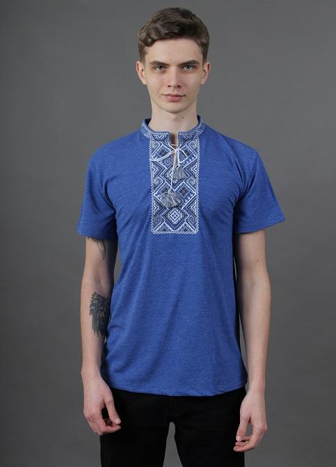 Купити чоловічу футболку вишиванку Витязь ( джинс синій з сірим ) в Україні від Галичанка фото 1