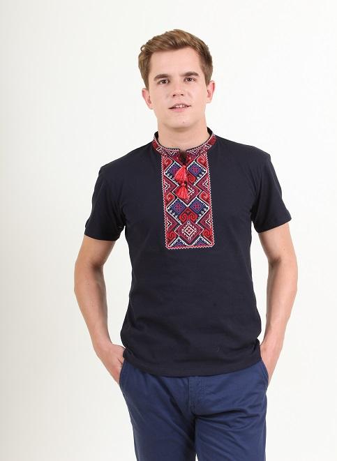 Купити чоловічу футболку вишиванку Витязь ( темно синя з червоним ) в Україні від Галичанка фото 1
