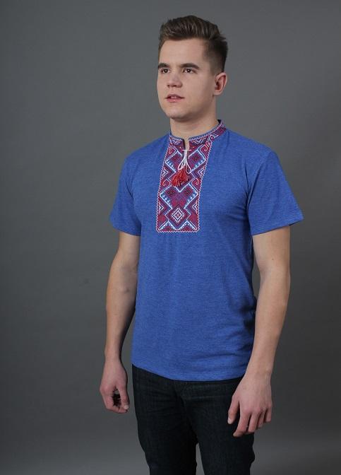 Купити чоловічу футболку вишиванку Витязь (джинс синій з червоним)  в Україні від Галичанка фото 1