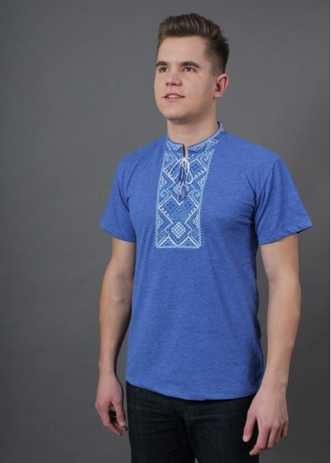 Купити чоловічу футболку вишиванку Витязь ( джинс синій з синім )  в Україні від Галичанка фото 1