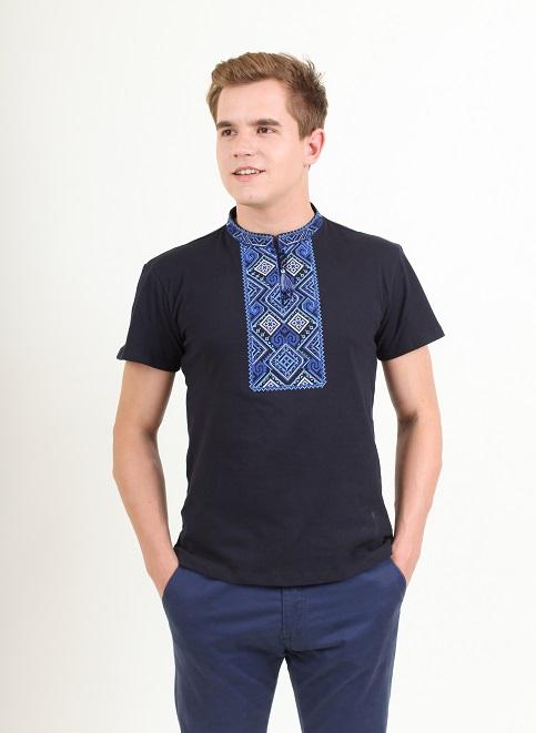 Купити чоловічу футболку вишиванку Витязь ( темно синя з синім ) в Україні від Галичанка фото 1