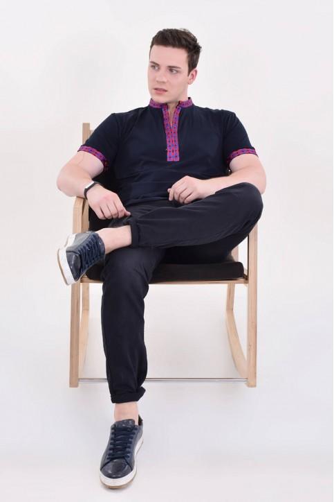 Купити чоловічу футболку вишиванку Воїн Гуцульська (т.синя з червоним) в Україні від Галичанка фото 1
