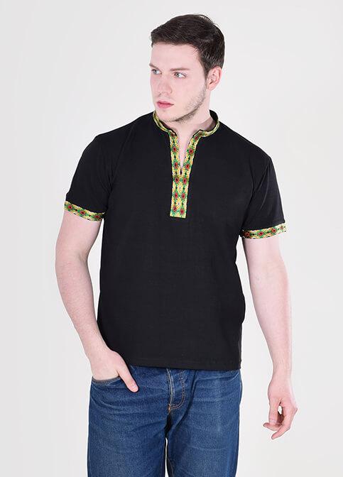 Купити чоловічу футболку вишиванку  Воїн (чорна з зеленим) в Україні від Галичанка фото 1