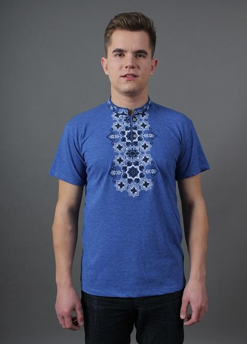Купити чоловічу футболку вишиванку Захар (джинс з чорним) в Україні від Галичанка фото 1