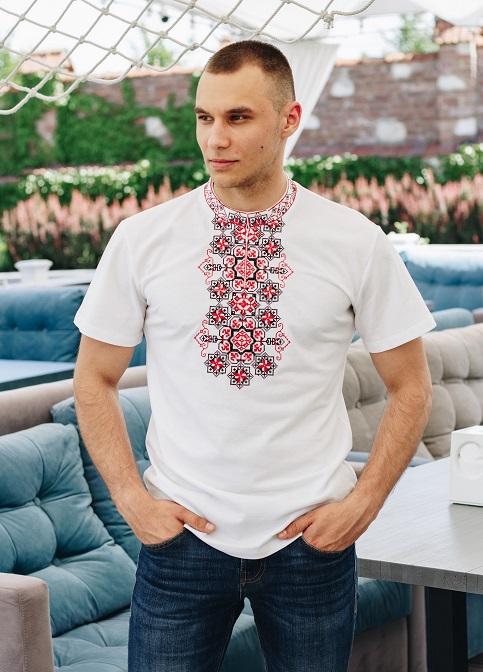 Купити чоловічу футболку вишиванку  Захар біла з червоним(гудзик) в Україні від Галичанка фото 1