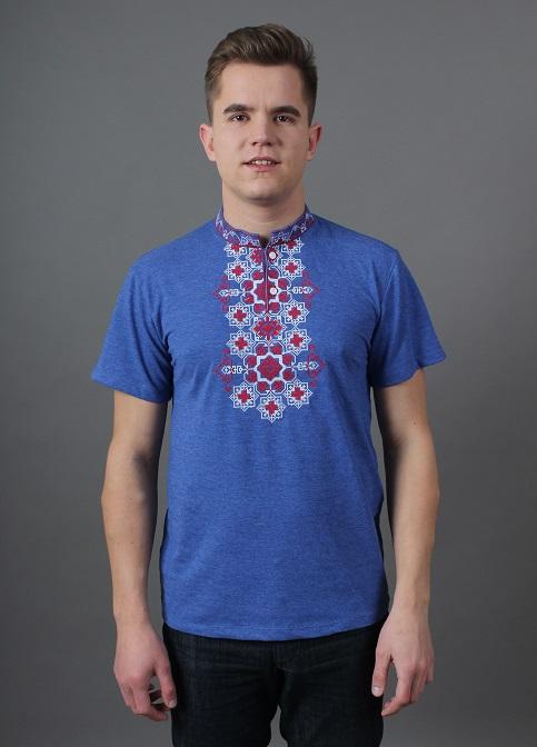 Купити чоловічу футболку вишиванку Захар (лакоста джинс синій з червовим) в Україні від Галичанка фото 1